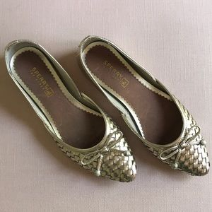 Sperry Morgan Platinum Woven Flats